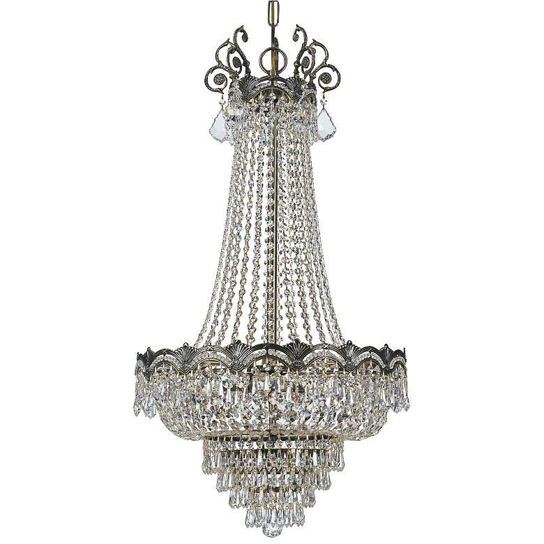 "Majestic 20 1/2"" Wide Historic Brass Crystal Chandelier"