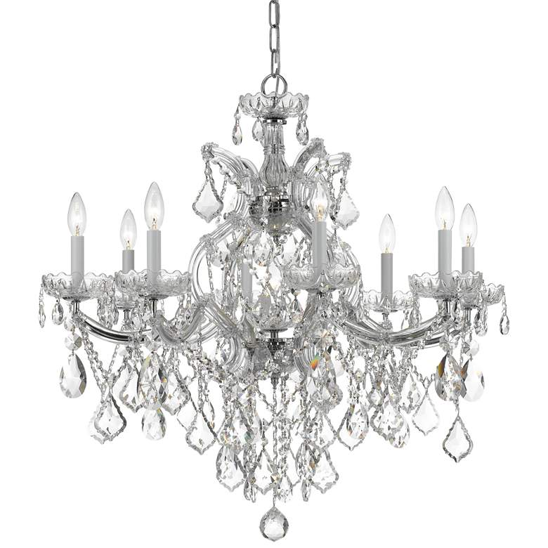 """Maria Theresa 28"""" Wide Polished Nickel 9-Light Chandelier"""