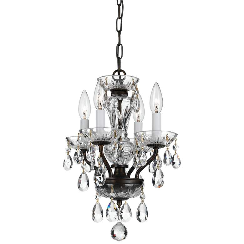 "Traditional Crystal 11"" Wide Bronze 4-Light Mini Chandelier"