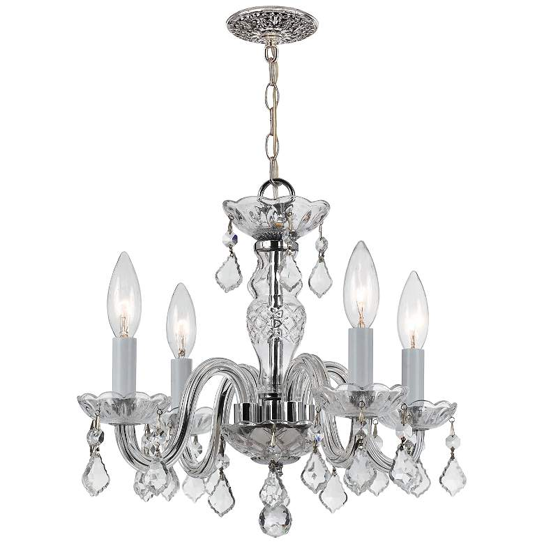 """Traditional Crystal 15"""" Wide Chrome 4-Light Chandelier"""