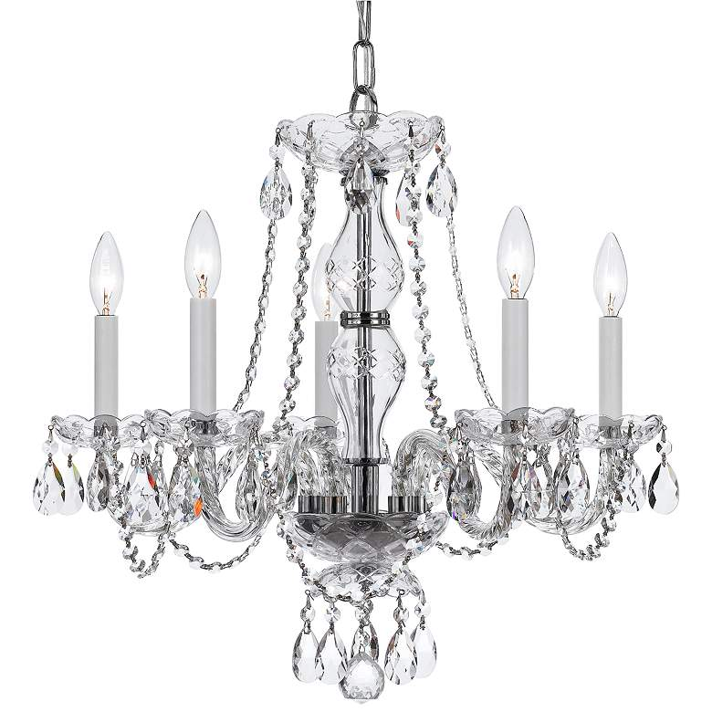 """Traditional Crystal 21""""W Polished Nickel 5-Light Chandelier"""