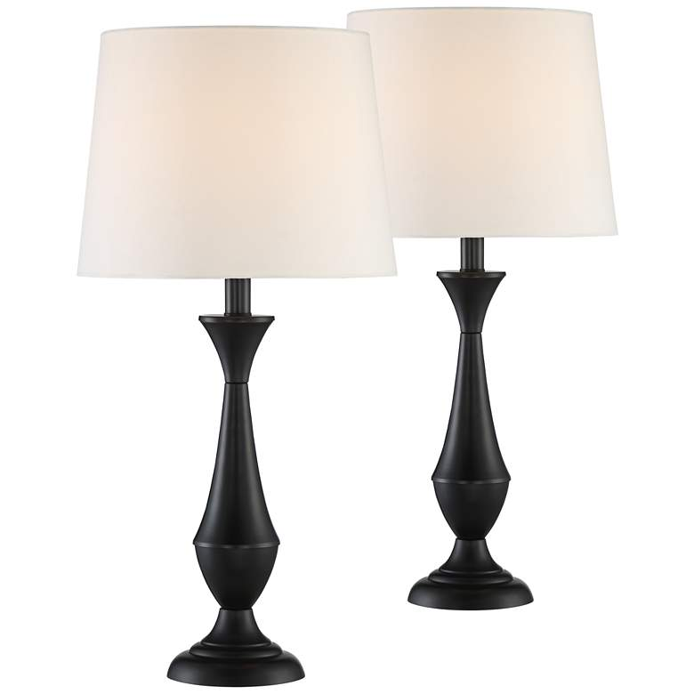 Joyce Black Metal Accent Table Lamps Set of 2