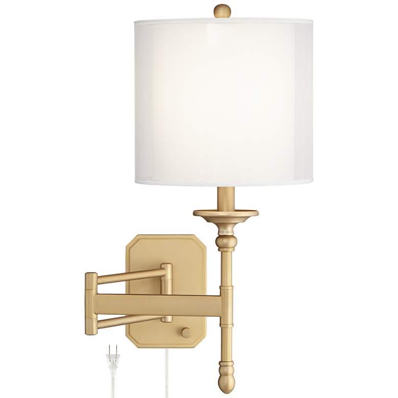 Possini Euro Atka Antique Brass Plug-In Swing Arm Wall Lamp