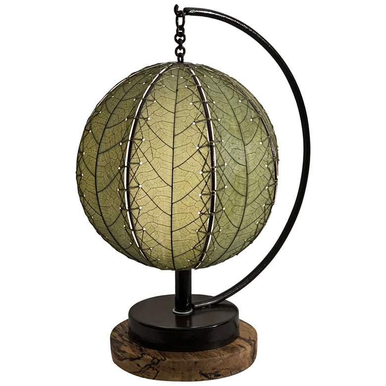 """Eangee Pendulum 14"""" High Green Orb Accent Table Lamp"""