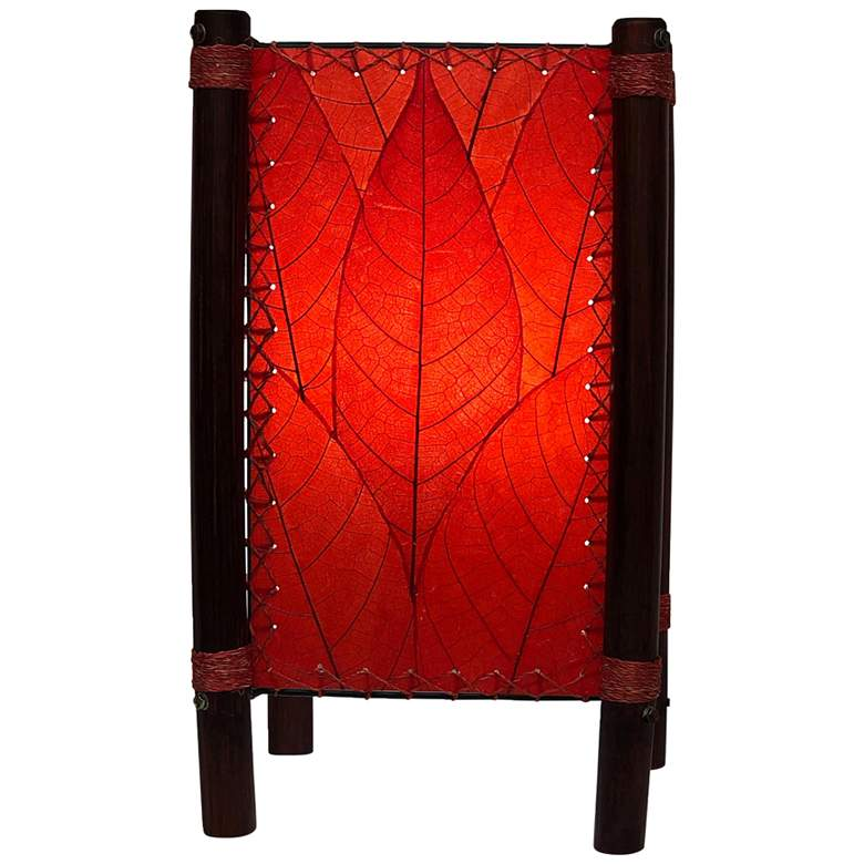 """Eangee Fortune 15"""" High Red Cocoa Leaves Accent Table Lamp"""