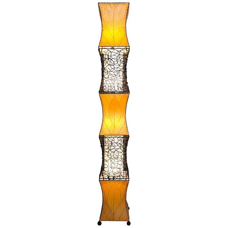 Eangee Pagoda Orange Cocoa Leaves Wave-Like Floor Lamp