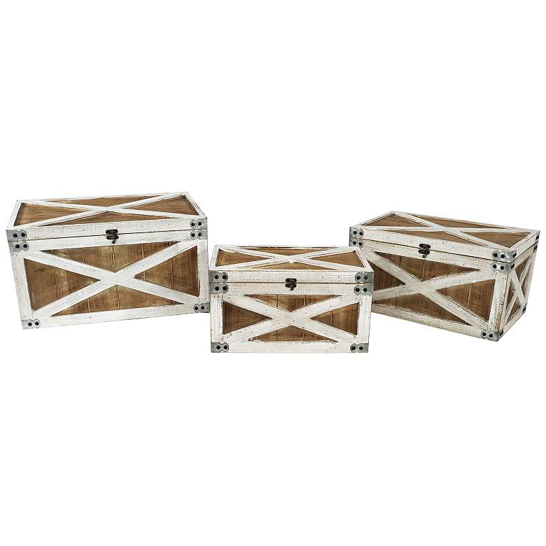 Triple Play Brown and White Wooden Nested Boxes - Set of 3