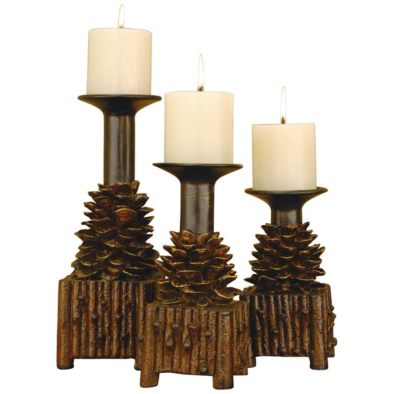 Crestview Collection Pinola Brown Candle Holders Set of 3