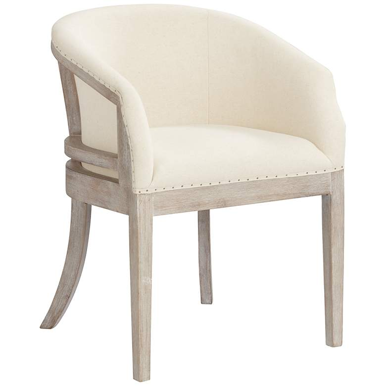 Karlina Oatmeal Cotton Whitewashed Accent Chair