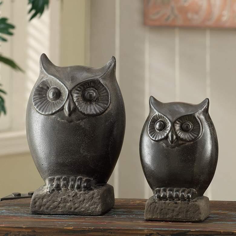 Crestview Collection Night Owl Dark Brown Figurines Set of 2