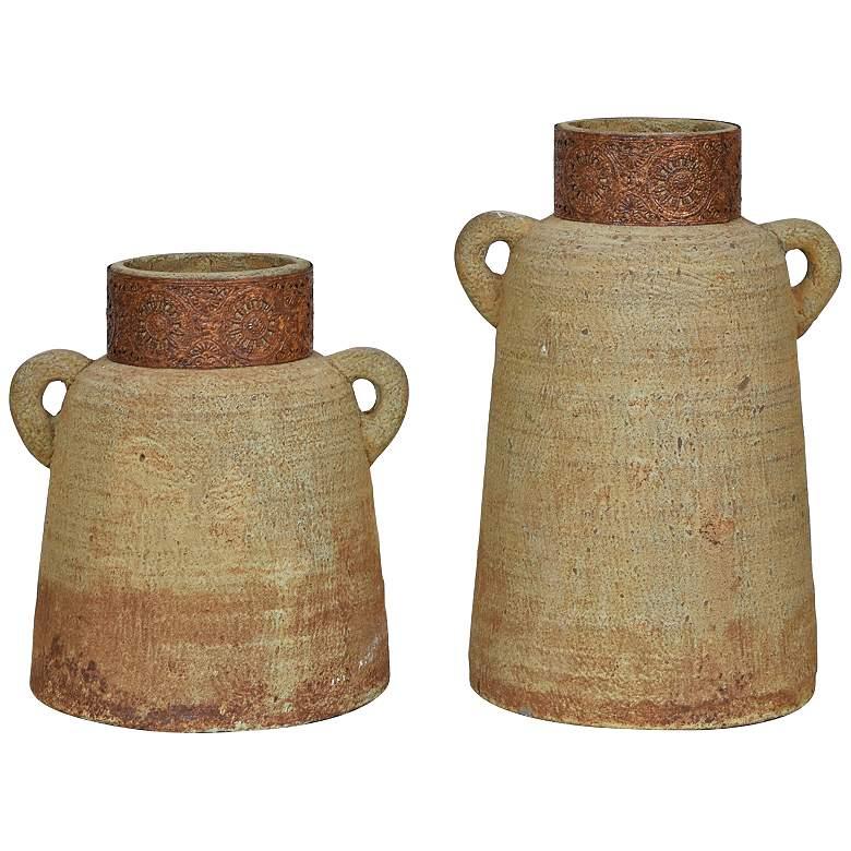 Pine Ridge Antique Rust Rustic Farmhouse Vases - Set of 2