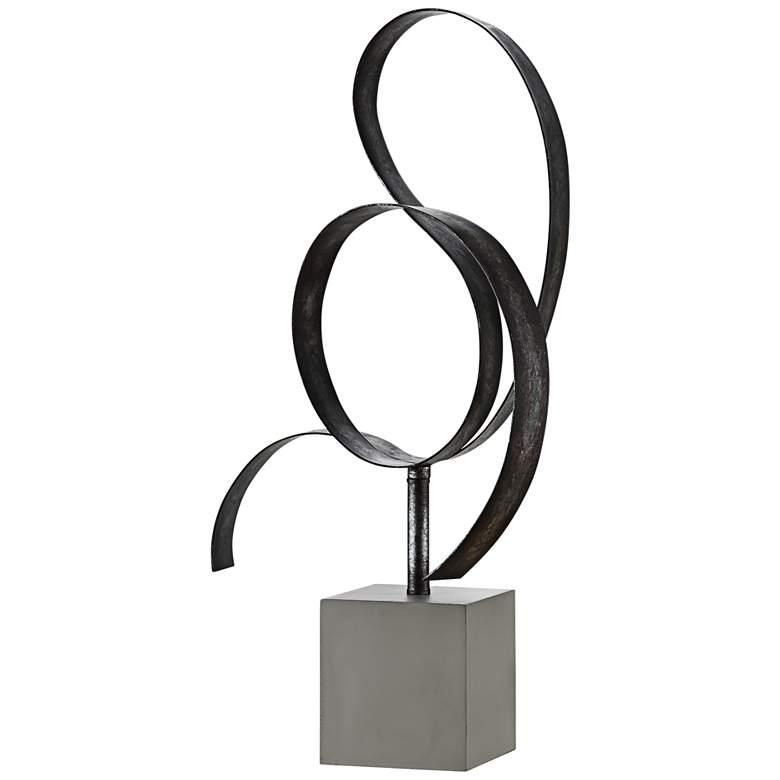 """Lan Free Form Blackened Silver 25"""" High Metal Sculpture"""