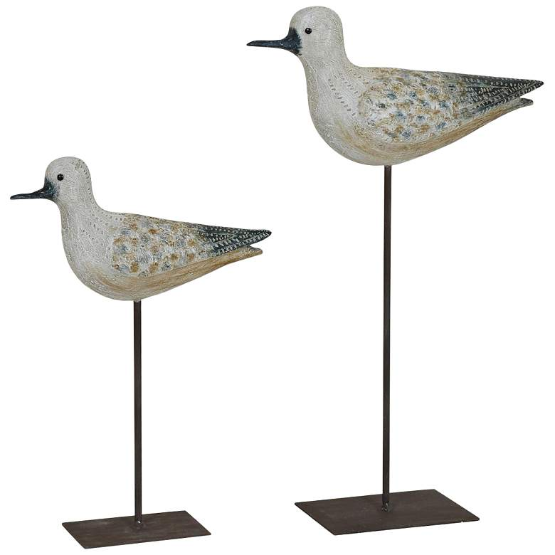 Crestview Collection Coastal Bird Off-White Statues Set of