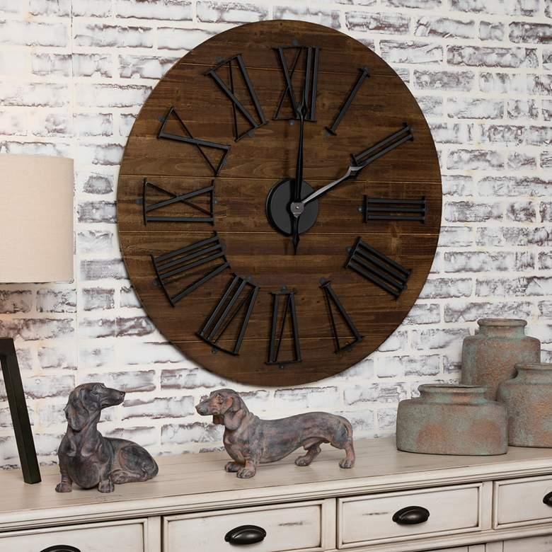 "Farmhouse 35 1/2"" Wide Rustic Wall Clock"