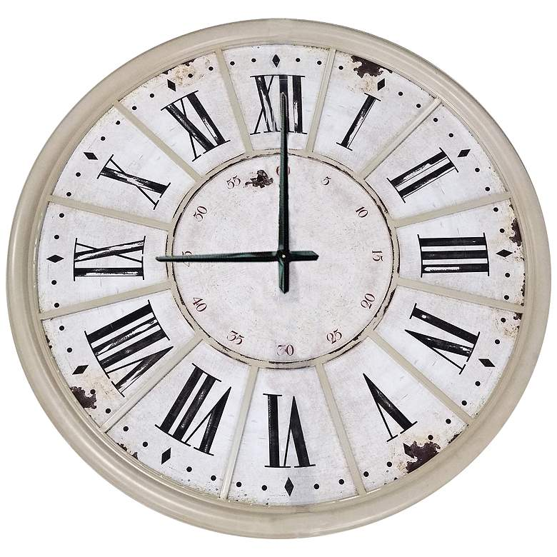 "Epic Time 39 1/2"" Wide Antique Off-White Wall Clock"