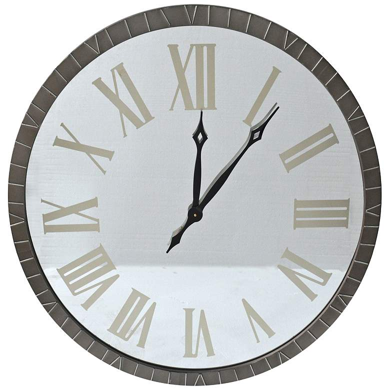 """Contemporary Time White Metal 36"""" Round Wall Clock"""