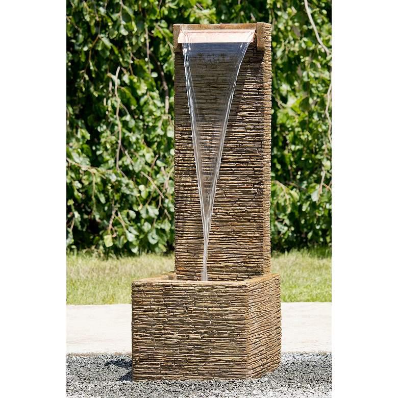 """Terrain 46"""" High Modern Stone Waterfall Fountain"""