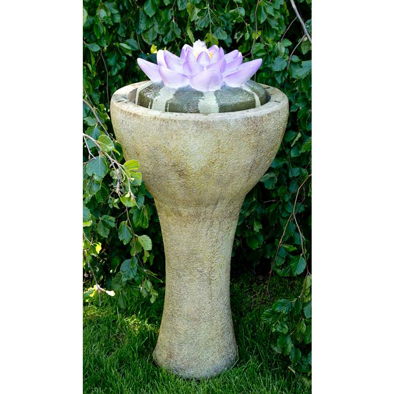 """Lotus 42"""" High Patio Bubbler Fountain with LED"""
