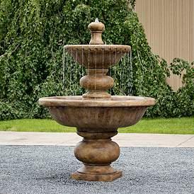 """Siena Cascade 67""""H Relic Lava 2-Tier Outdoor Spill Fountain"""