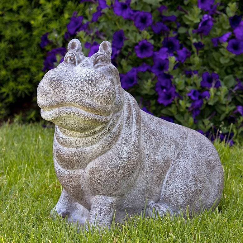 """Henri the Hippo 17 1/2""""H Relic Frosted Mocha Garden Statue"""
