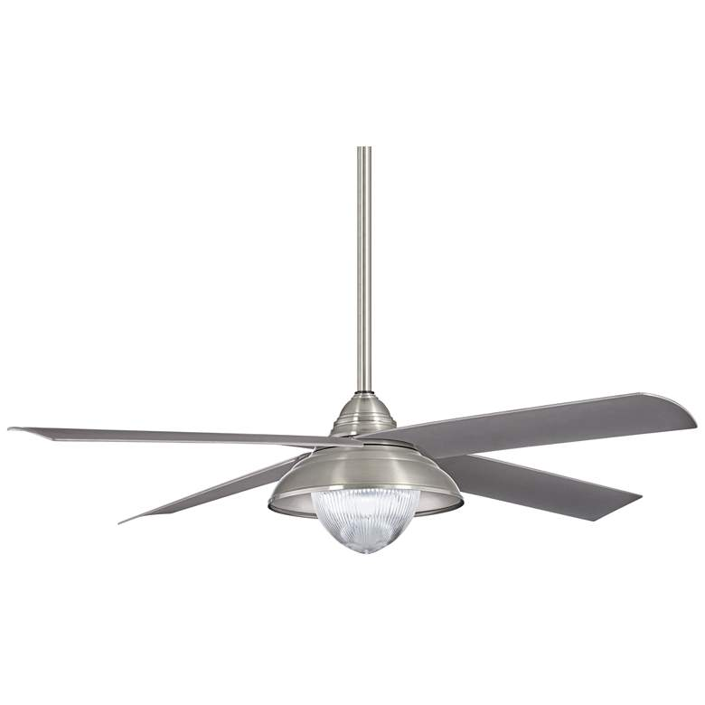 "56"" Minka Aire Shade Brushed Nickel LED Outdoor Ceiling Fan"