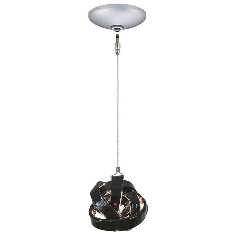"""Jesco Envisage VI 6"""" Wide Black Glass Ribbon Mini Pendant"""