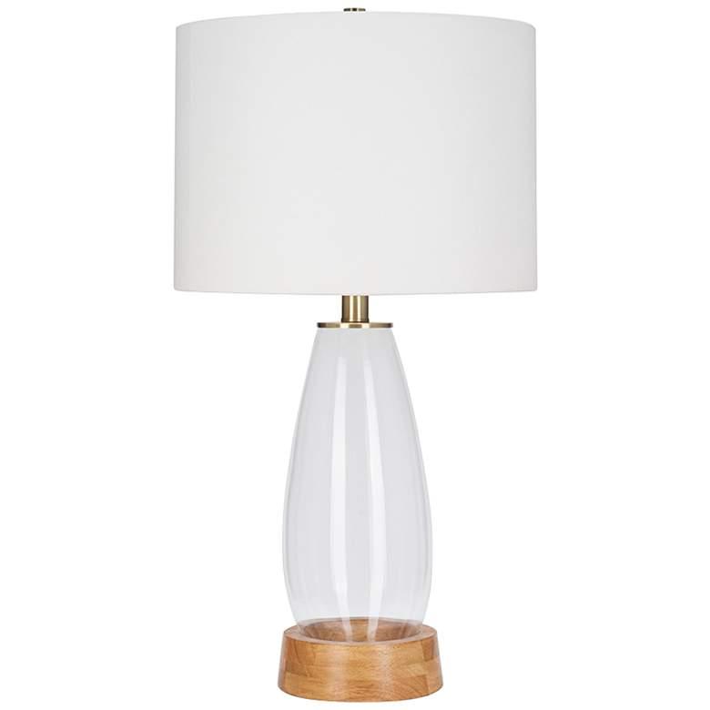 Felix Clear Glass and Nature Light Oak LED Table Lamp