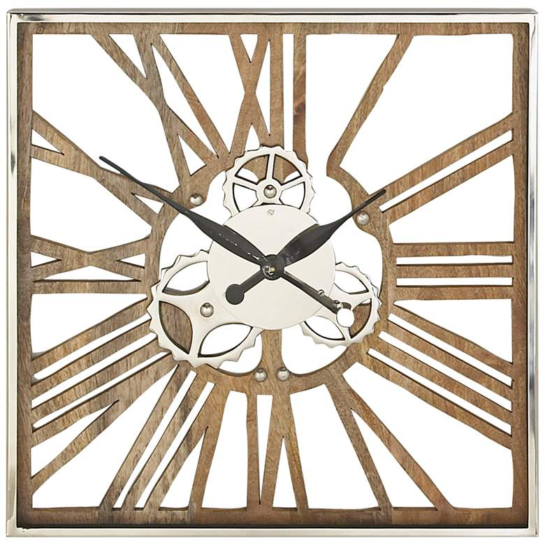 """Brown and Silver 24"""" Square Wood Framed Wall Clock"""