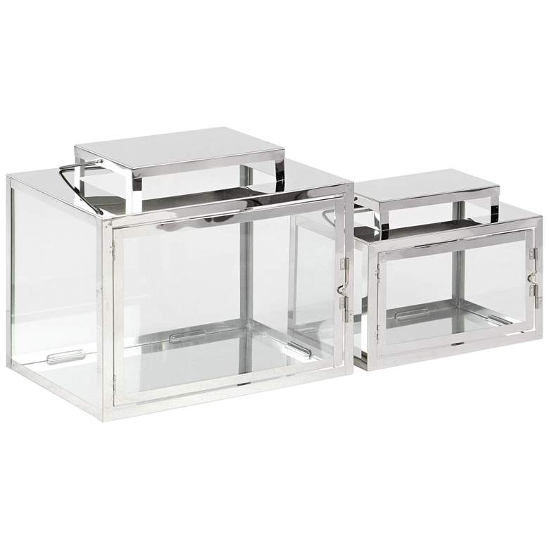 Stainless Steel and Glass Rectangular Lanterns Set of 2
