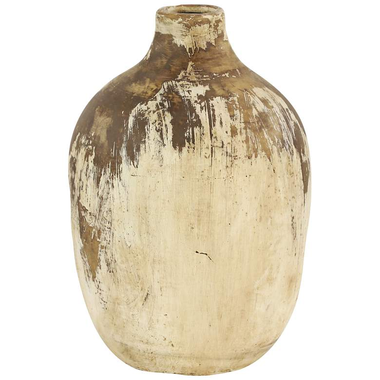 """Brown and Natural 13"""" High Antique Terracotta Vase"""