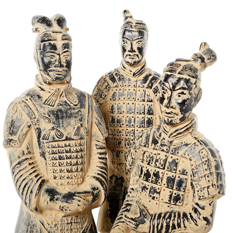 Black and Beige Antique Chinese Warrior Statues Set of 3