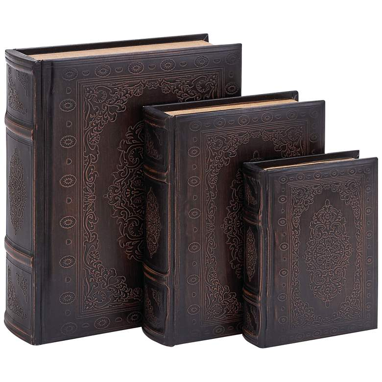 Walnut Brown and Maroon Wood Leather Book Boxes - Set of 3