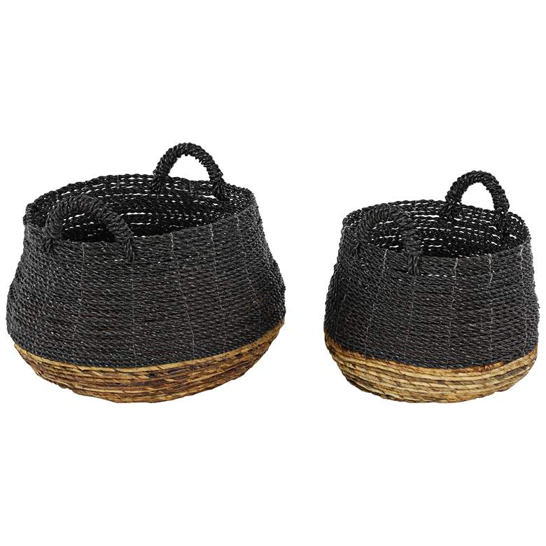 Black and Natural Woven Storage Baskets - Set of 2
