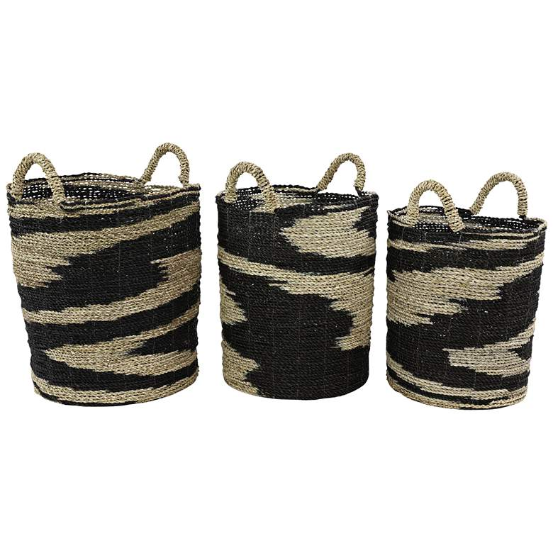 Black and Natural Woven Seagrass Storage Baskets Set of 3