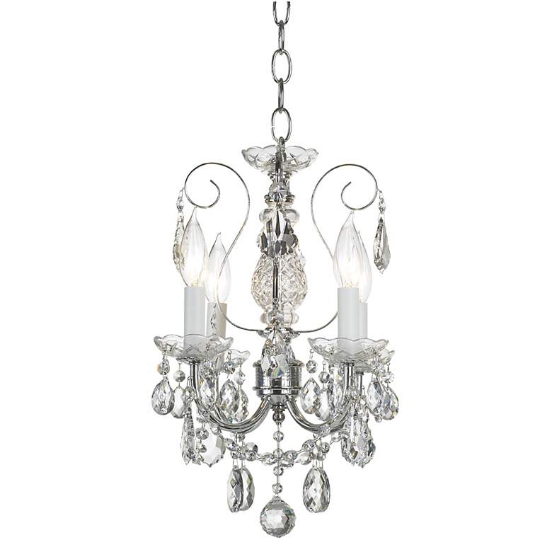 """New Orleans 12"""" Wide Silver Hand-Cut Crystal Mini Chandelier"""