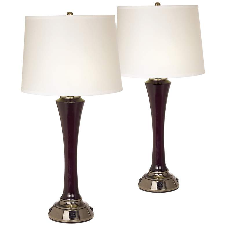 Sammy Mahogany and Antique Brass Table Lamps Set of 2 with Outlets