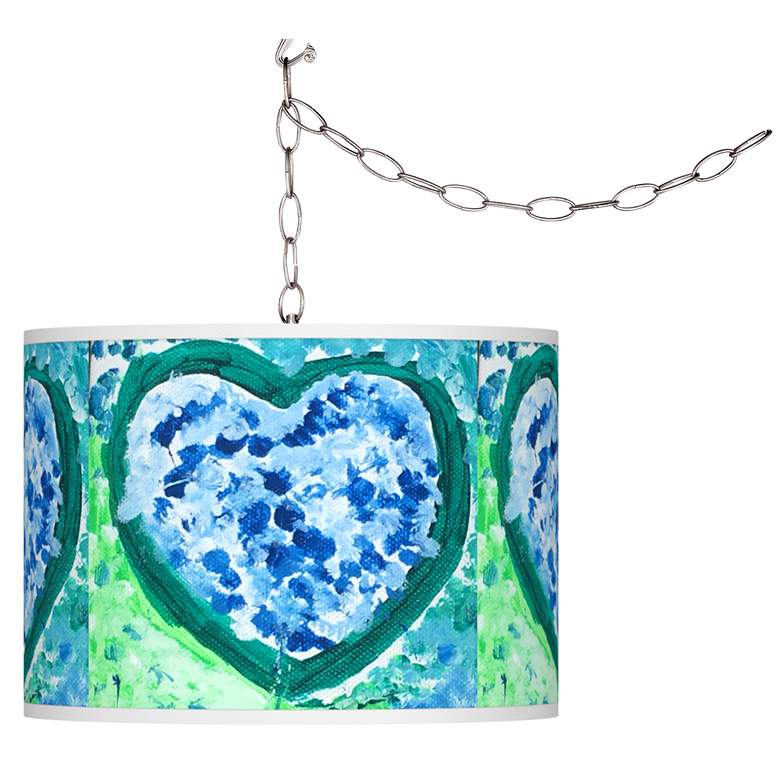 St. Jude Aqua Hearts Plug-In Swag Pendant