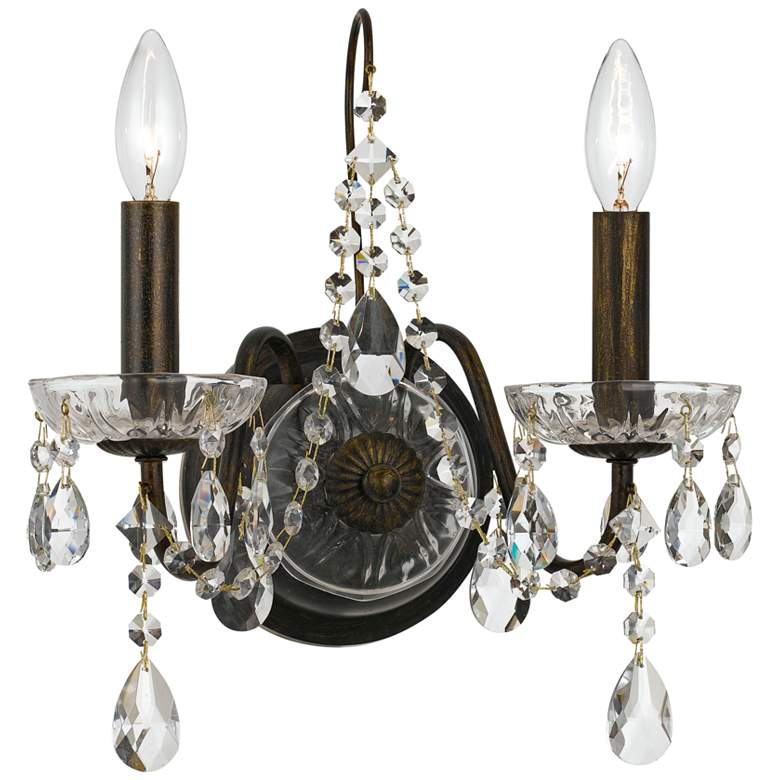 "Crystorama Butler 14""H English Bronze 2-Light Crystal Sconce"