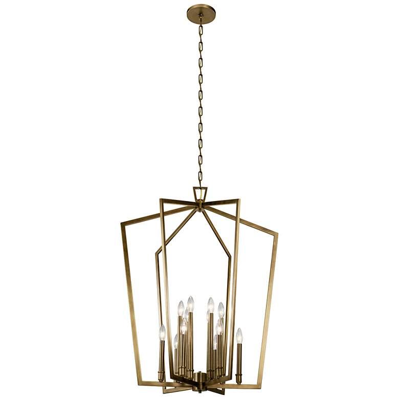 "Abbotswell 30"" Wide Natural Brass 12-Light Foyer Chandelier"