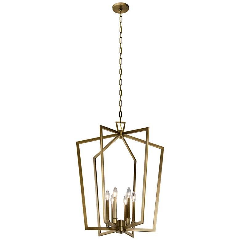 "Abbotswell 24 3/4"" Wide Natural Brass 6-Light Foyer Pendant"