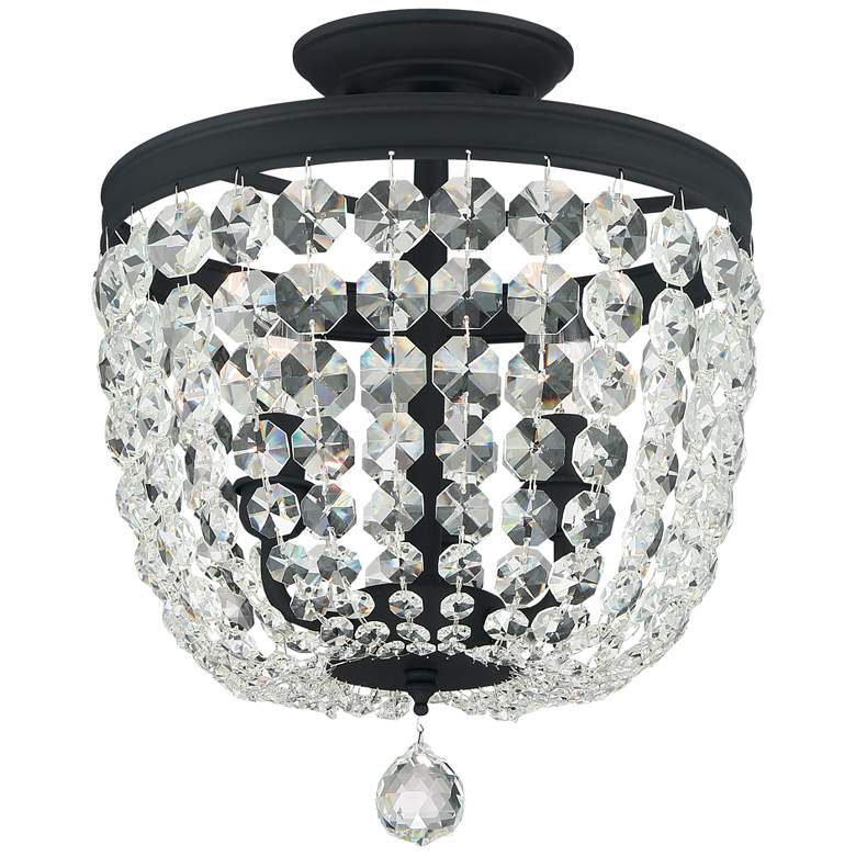 "Crystorama Archer 11 1/2"" Wide Black Crystal Ceiling Light"