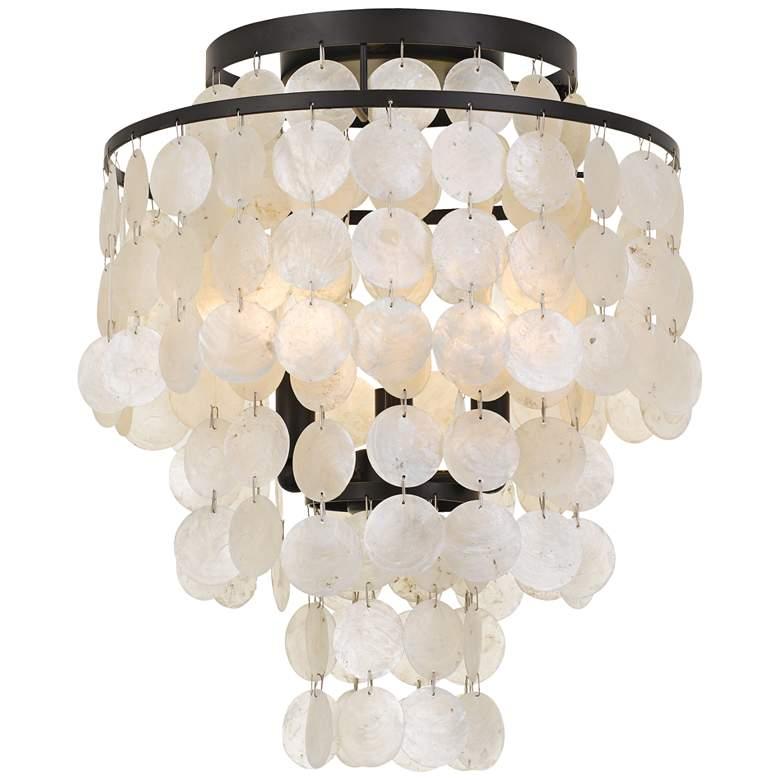 "Crystorama Brielle 13"" Wide Bronze Capiz Shell Ceiling Light"