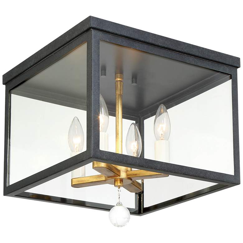 """Weston 12 3/4"""" Wide Black and Gold 4-Light Ceiling Light"""