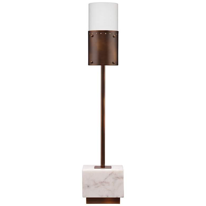 Lazio Bronze Patina White Marble Base Uplight Table Lamp