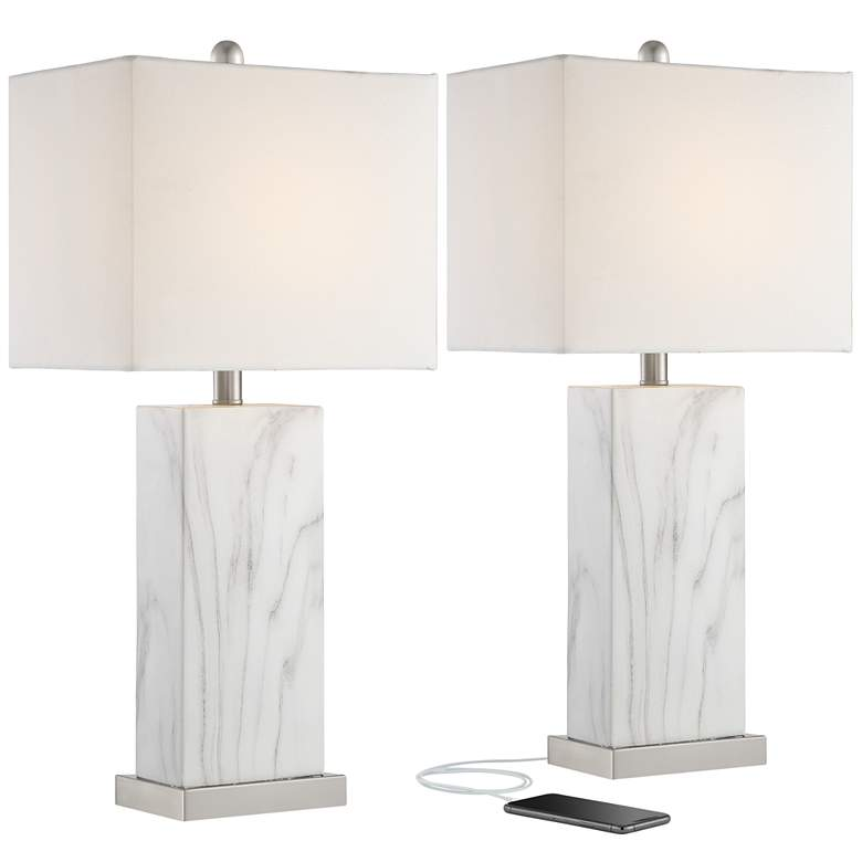 Connie White Faux Marble Modern USB Table Lamps Set of 2