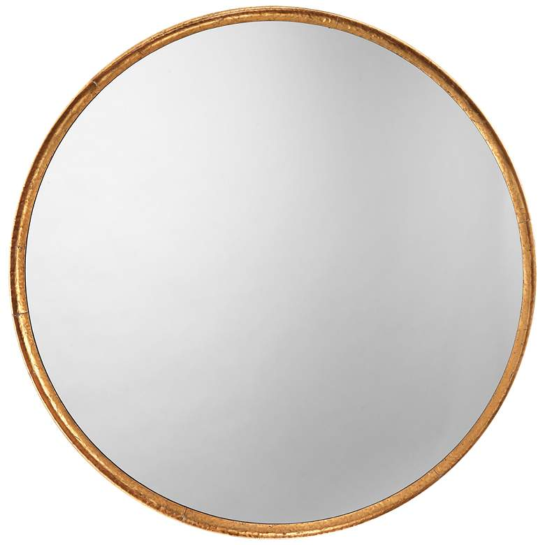 """Jamie Young Refined Gold Leaf 36"""" Round Wall Mirror"""