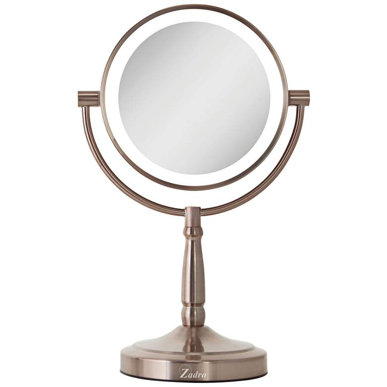 Cordless Dual-Sided Rose Gold LED Lighted Vanity Mirror