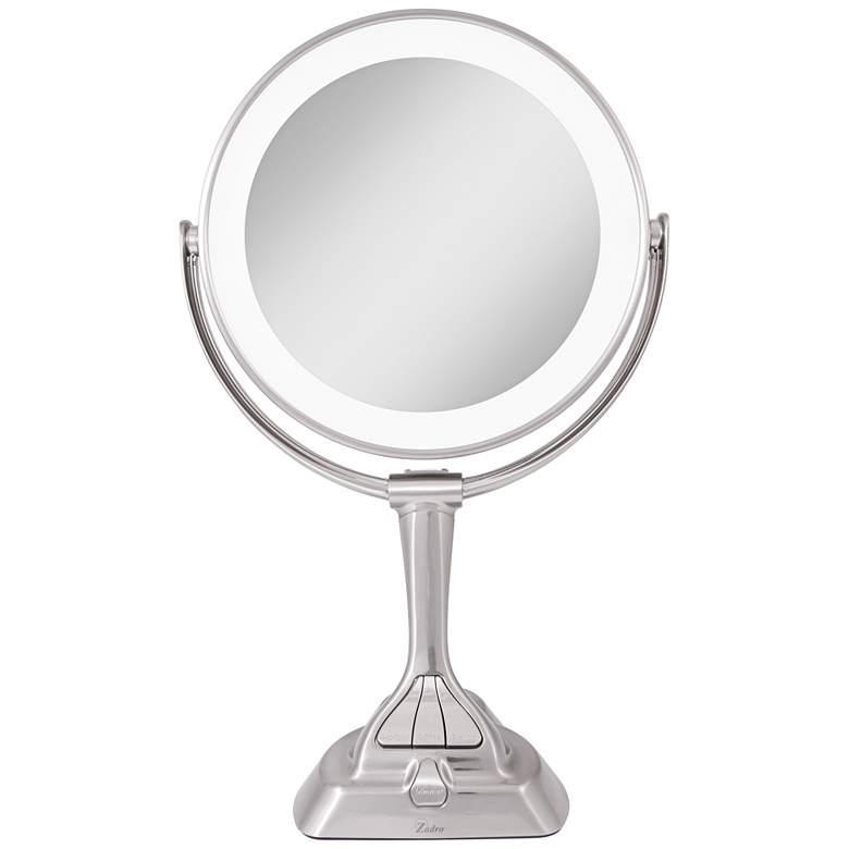 Dual-Sided Satin Nickel LED Variable Lighted Vanity Mirror
