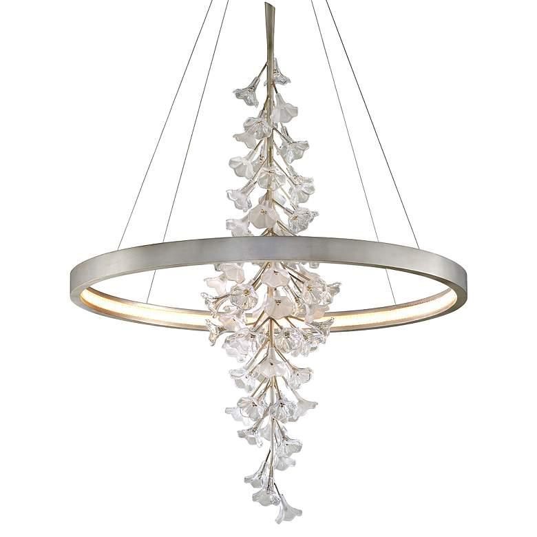 "Corbett Jasmine 44"" Wide Silver Leaf LED Floral Pendant"