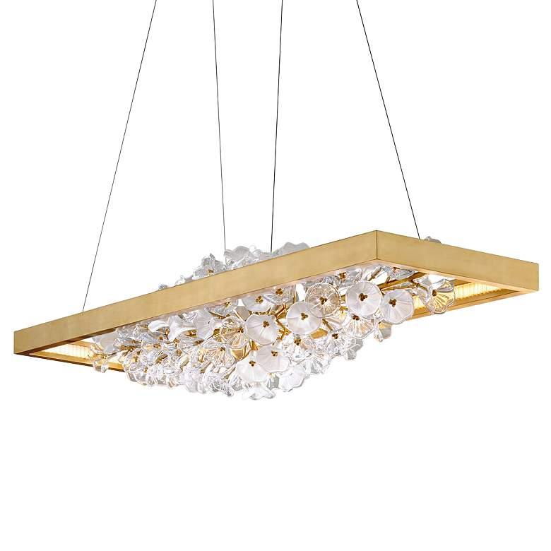 "Jasmine 60""W Gold LED Floral Kitchen Island Light Pendant"
